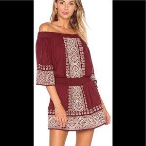 Tularosa Wine Embroidered off shoulder dress, S